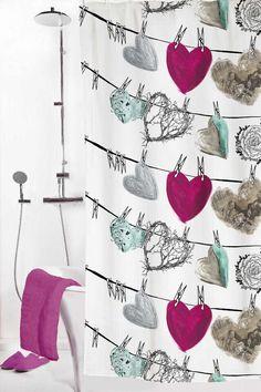 Sisustus - kylpyhuone - graafinen kuviointi suihkuverhossa Ikea Fabric, Marimekko, Print Patterns, Scandinavian, Curtains, Cool Stuff, Birches, House Interiors, Seas
