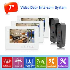 "337.42$  Watch now - http://aligr9.worldwells.pw/go.php?t=32786902640 - ""2v3 Wired Doorbell Intercom System English/Russian 7"""" Touch Button Monitor Video Doorphone System Night Vision Entrance Machine"""