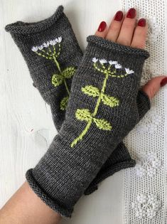 Knit fingerless gloves, knitted mittens, Wool mittens, Kintted gloves with embroidery, Long gloves f… Fingerless Gloves Knitted, Knit Mittens, Knitted Hats, Crochet Gloves Pattern, Knit Crochet, Wool Embroidery, Long Gloves, Arm Warmers, Hand Knitting