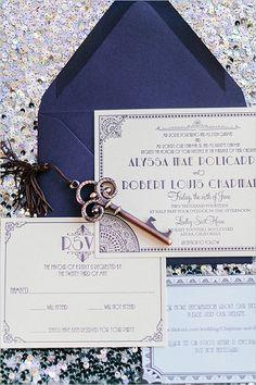 Navy and purple Great Gatsby inspired wedding stationery/invitations Great Gatsby Theme, Great Gatsby Wedding, Our Wedding, Dream Wedding, Wedding Shot, Wedding Themes, Wedding Stuff, Wedding Decorations, Art Deco Invitations