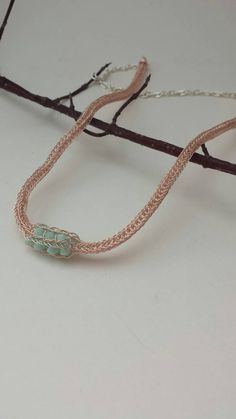 Items similar to Rose Gold Viking Knit necklace with Mint alabaster swarovski crystals embedded in the chain. Stunning and simple. on Etsy Knitted Necklace, Viking Knit, Making Ideas, Vikings, Turquoise Bracelet, Swarovski Crystals, Handmade Jewelry, Jewelry Making, Mint