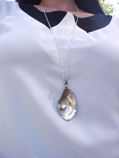 Romantic Oyster Shell Cultered Pearl Necklace Sterling Silver Hand Engraved French Long Sterling Chain on Etsy, $199.00