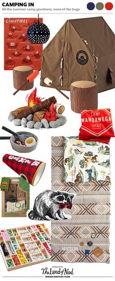 Bringing the Outdoors in with Camp Wandawega for Nod. Sleeping bags, playhomes, fire pits, smores, and a trusty raccoon. What could be better?