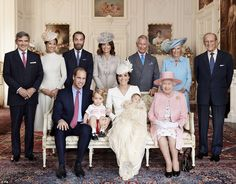 Modern family: The Queen is pictured at Princess Charlotte's christening along with Prince...