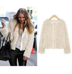 Kristen Bell White Faux Fur Coat