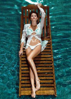 Tropical escape - sexy white bikini bathing suit - ocean floating - lazy river - sexy queen