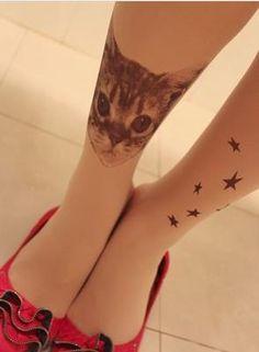 New Star Cat Pattern Transparent Tattoo pantyhose Stockings Tights Leggings | eBay