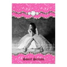 Sweet 16 Party Invite Leopard Jewelry Pink from Zazzle.com