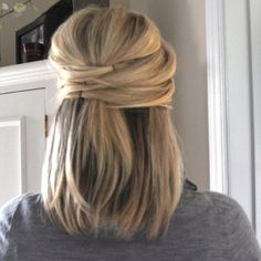 Great style for mid length hair, but gotta hide those bobby pins!