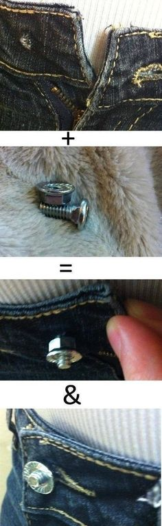 Button fell off of your favorite jeans? Add a small nut and bolt to solve your woes!!