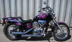 Ideas for nice cheap cars road trips Purple Motorcycle, Custom Paint Motorcycle, Motorcycle Tank, Motocross, Cheap Motorcycles, Purple Fire, Custom Paint Jobs, Biker Chick, Biker Girl