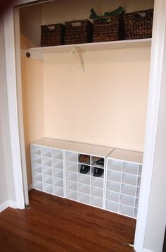 Target, closetmaid shoe cubbies. Place some in garage - may be easy/cheap way to create shoe storage