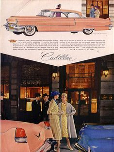 1956 Cadillac Ad with a pink cadillac with dagmar bumper