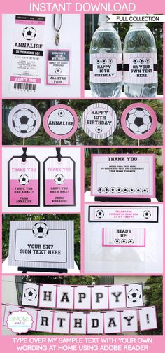 Girls Soccer Party INSTANT DOWNLOAD full Birthday by SIMONEmadeit, $14.95