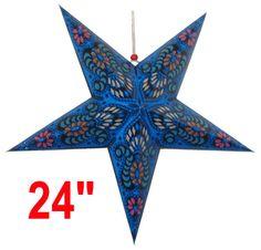 "Star Paper Lantern 24"" Blue Color w/ Pattern - http://www.justartifacts.net/star-paper-lantern-24quot-blue-color-w-patte24.html#"