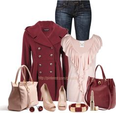 """""""Burgundy & Pink Rose Ruffles"""" by casuality on Polyvore"""