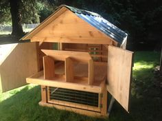 Our gable roof chicken coops come with roost bars, nest boxes, and a removable cleaning tray. You can choose between barn red and forest green for the roofing color. Our coops are built with you and your chicken in mind. They are extremely easy to clean for you and very secure for your chickens. To place an order go to our order page. Additional information at the bottom of the page.