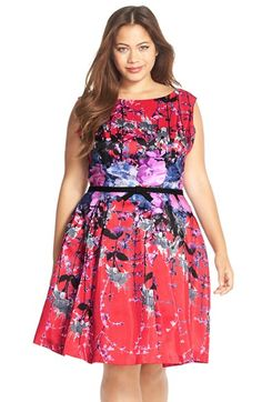 Gabby Skye Bow Belt Floral Print Shantung Fit & Flare Dress (Plus Size) available at #Nordstrom