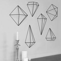 Black Prisma Wall Decor - Set of 6