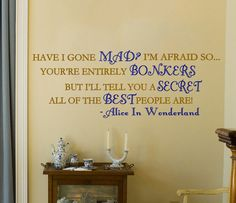 Adorable Alice In Wonderland Mad Hatter wall decal. Must have!!