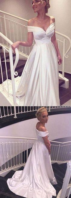 Elegant V-neck Cap Sleeves A-line Satin Wedding Dress Bride Gown #AutumnWeddingIdeas