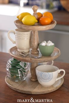 His Abundance wooden tiered server is quintessential midcentury decor! Perfect for your kitchen table, counter or desk! A great space-saving way to organize.