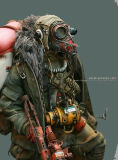 Post Apocalyptically solitary man with gasmask, rifle and things