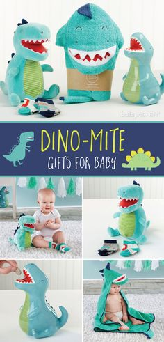 Expecting a dino-loving baby in the family? These dinosaur baby gifts are soft, cuddly and oh so cute, all while rocking the dinosaur theme. Baby Boy Gifts, Baby Shower Gifts, Baby Aspen, Hampers, Little Man, Bath Time, Baby Products, Baby Fever, Dinosaurs
