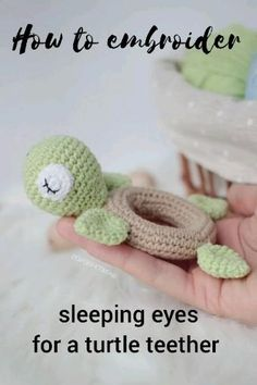 In this video you can learn how to make sleeping eyes for amigurumi toys. You can find a pattern for this baby teether turtle in my Etsy store. It will be easy for beginners. Crochet Baby Toys, Crochet For Boys, Crochet Patterns Amigurumi, Cute Crochet, Crochet Animals, Crochet Crafts, Crochet Dolls, Baby Knitting, Crochet Projects