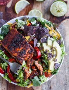 Chile Lime Salmon Fajita Salad with Cilantro Lime Vinaigrette. - Half Baked Harvest