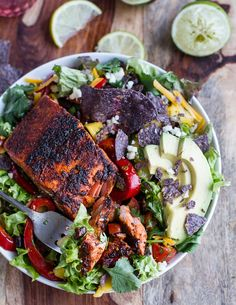 Chile Lime Salmon Fajita Salad with Cilantro Lime Vinaigrette