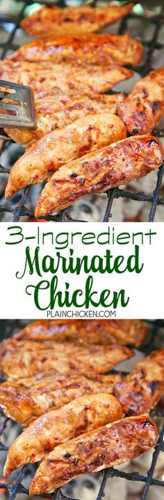 3-Ingredient Marinated Chicken - only 3 ingredients including the chicken! Everyone loves this quick and easy marinade! I always make extra chicken for leftovers - it is great chopped up in chicken salad. YUM! We make this almost every other week - so good!
