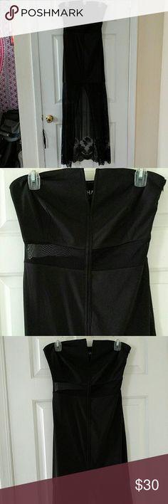 Black floor length dress Black dress with mesh details. Worn once. Originally purchased from dollskill.com. Deep V reinforced with boning. Rehab Dresses Maxi