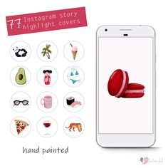 77 Instagram Story Highlights Icons, multi pack, high resolution, hand painted, gouache and watercolor, highlight covers, instant download by FantomFifiArt on Etsy