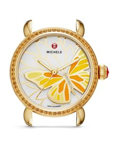 Michele Limited Edition Garden Party Topaz & Diamond Butterfly Watch Head, 36mm
