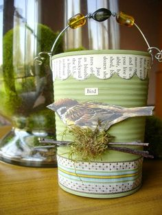 And to let you gaze at some handmade tin can decor pieces we have round up some samples here so do have a look at this 34 Easy DIY tin can craft projects. Tin Can Art, Tin Art, Tin Can Crafts, Arts And Crafts, Diy Crafts, Ribbon Crafts, Recycle Cans, Repurpose, Reuse