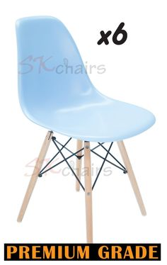 SK CHAIRS 6 X Replica Sky Blue Eames DSW Eiffel Dining Chair Natural Legs In