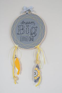 OOAK Gray and Yellow Nursery Hand Stitched and Beaded Embroidery Hoop Art Dreamcatcher with Ribbons, Crochet Beads, and Fabric Feathers