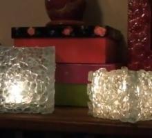 Luminária com Cacos de Vidro