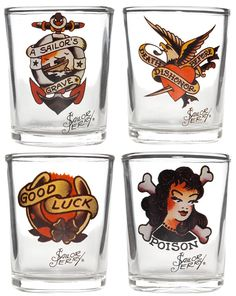 SAILOR JERRY SHOT GLASS SET. This set contains four shot glasses with original Sailor Jerry tattoo artwork. These classic tattoo designs will fill that hole in your bar ware collection! $36.00