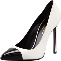 Saint Laurent Bi-Color Leather Cap-Toe Pump, White/Black ($665) ❤ liked on Polyvore featuring shoes, pumps, heels, sapatos, zapatos, two tone pump, high heel pumps, leather pumps, leather shoes and black and white pointed toe pumps