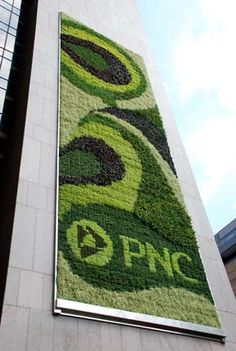 PNC Completes Biggest Green Living Wall in North America Vertical Green Wall, Green Initiatives, Earthship, Change Is Good, Plant Wall, Commercial Design, Go Green, Wall Murals, Sustainability