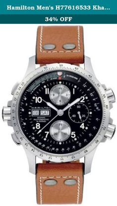Hamilton Men's H77616533 Khaki X Chronograph Watch. Stainless steel case with a brown leather bracelet with contrast stitching. Rotating bezel . Black dial with luminous hands and Arabic numeral hour markers. Day and date displays at the 9 o'clock position. Chronograph - three sub-dials displaying: 60 seconds, 30 minutes and 12 hours. Automatic Cal.7750 movement. Scratch resistant sapphire crystal. Screw down crown. Stainless steel skeletal case back. Case diameter: 44 mm. Tang clasp…