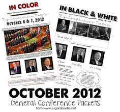October 2012 Teen/Adult Conference Packets (black and white or color), courtesy of sugardoodle