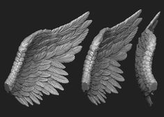 Wings Printable 5 wings wing feather flying angel bird, available in OBJ, STL, ready for animation and other projects Tattoo Sketch Art, Art Drawings Sketches, Eagle Wings, Bird Wings, Zbrush, Black Angel Wings, Statue Tattoo, Wood Carving Art, Polymer Clay Dolls