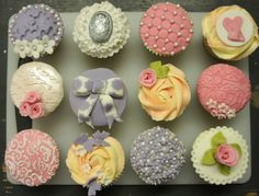 cupcakes in lilac, pink and white, topped with hand embossed, frilled, piped, quilted,moulded and stencilled decorations! Why don't you come and join the fun and impress your friends with your decorating skills? http://www.sweetrevengelondon.com/finest-cupcake-decorating-course-p/