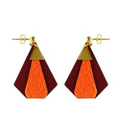 Boucles d'oreille en cuir bordeaux orange pailleté LÉLIE I CHARLY JAMES