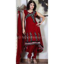 Splendorous Brick Red & Burgundy Salwar Kameez - Fashionheena