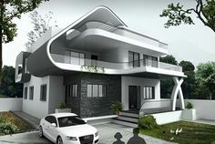 My future house design dream home design arch building modern villa design dream house elevation houses Bungalow House Design, House Front Design, Modern Bungalow, Dream House Plans, Modern House Plans, Modern Architecture House, Architecture Design, Garden Architecture, Amazing Architecture