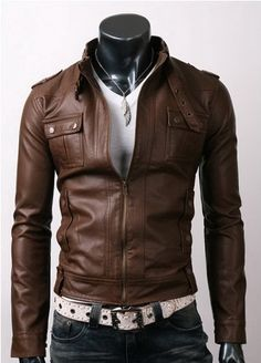 Men's Light Brown Slim-fit Stylish Leather Jacket    Jacket Features:   Outfit type: Genuine Or Faux Leather Jacket Gender: Male Color: Light Brown Front: Front Zip Closure Collar: Stand Tab Collar Lining: Viscose Lining Cuffs: Button Pockets: Two